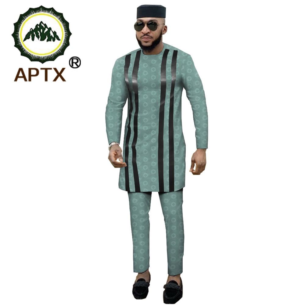 APTX Jacquard Fabric Cotton Muslim Suit For Men Tailor Made Full Sleeves Top+ Slim Pants Men's Casual Suit T1916021
