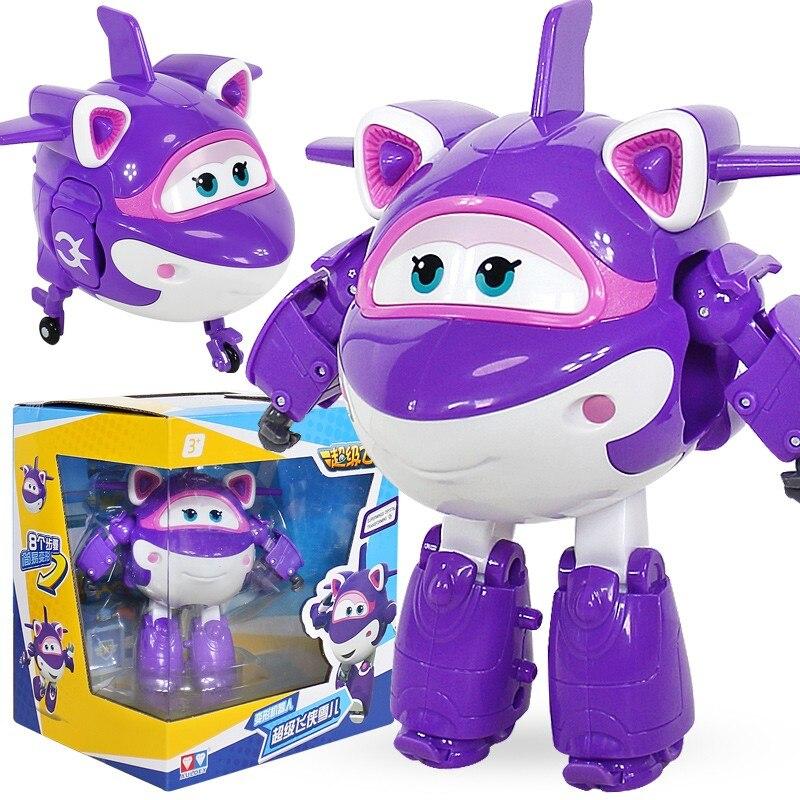 Le plus nouveau grand ABS Super ailes déformation avion ABS Robot jouets figurines Super aile Transformation Jet Animation enfants jouets