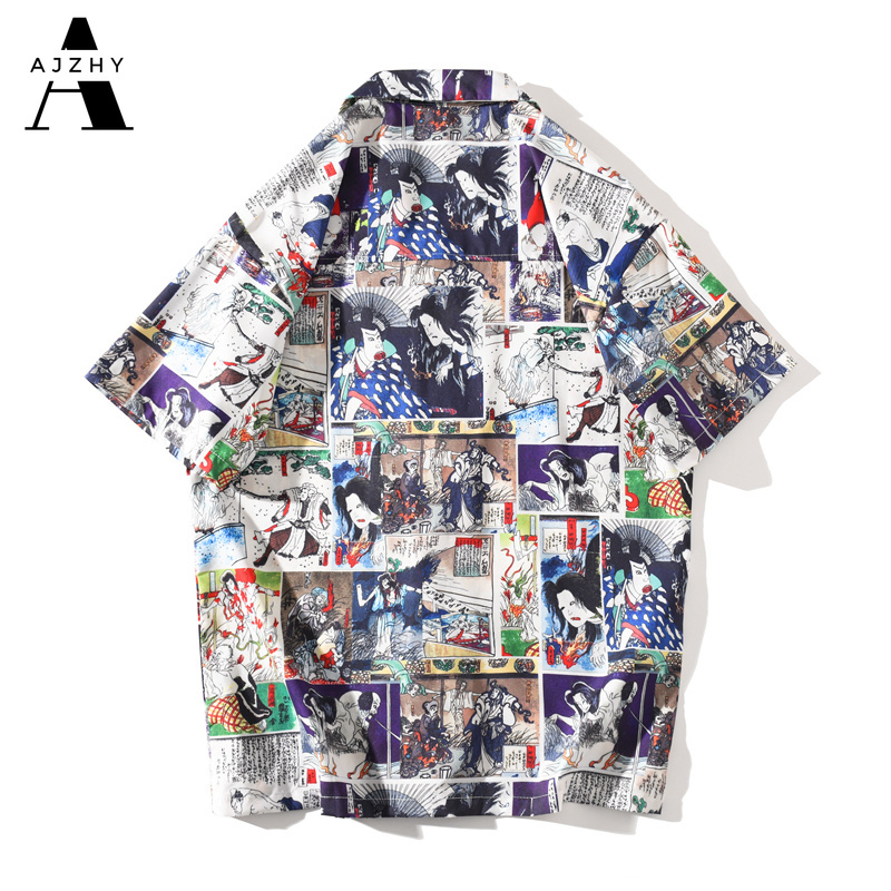 Anime Print  Hawaiian Shirts Men Streetwear Hip Hop Harajuku Casual Tropical Beach Short Sleeve Shirt Summer Fashion Tops Male 2