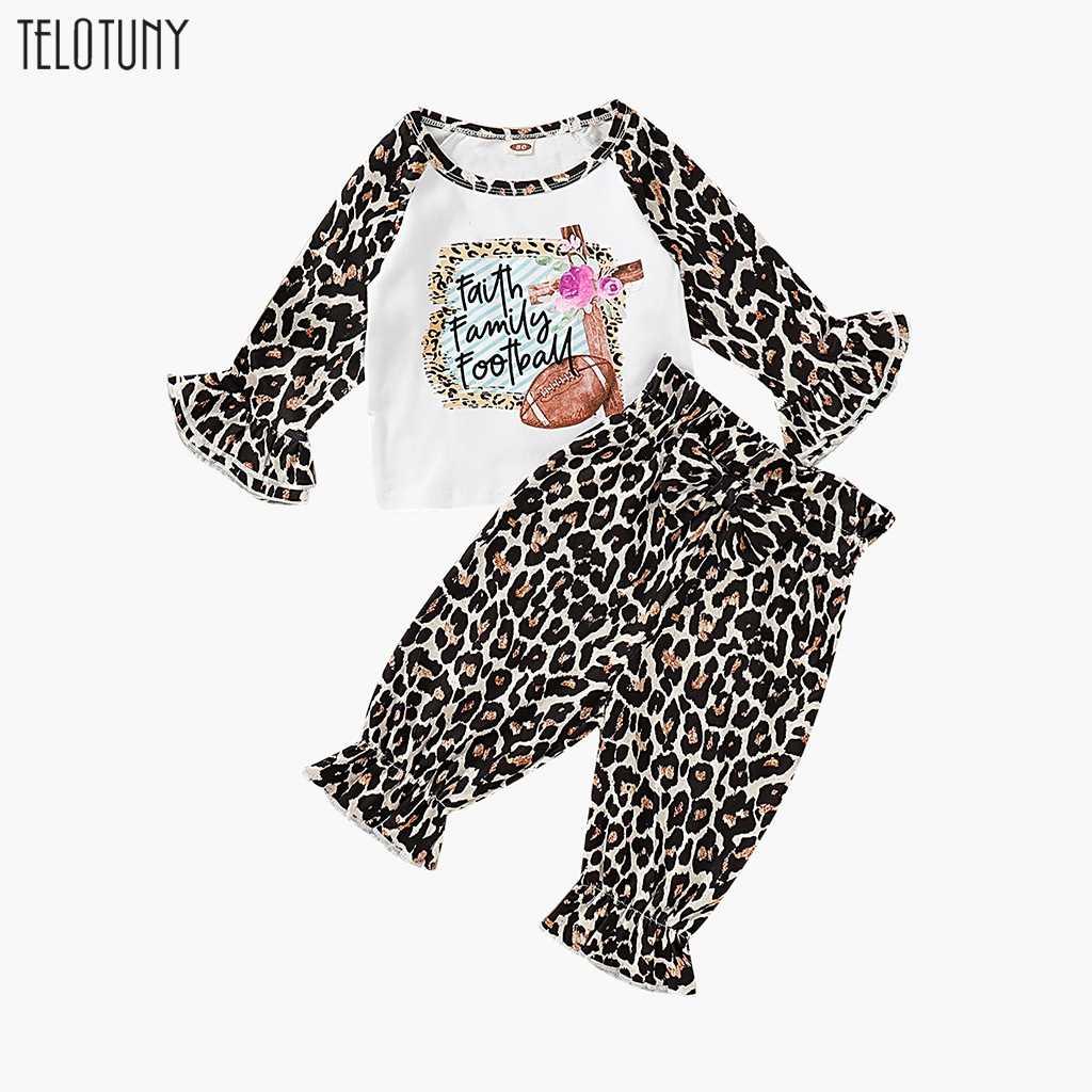 TELOTUNY nueva ropa de otoño para niñas, conjuntos de ropa para recién nacidos, camisetas con estampado de letras con manga de llamarada rosa, pantalones de leopardo, 2 uds. Trajes 1118