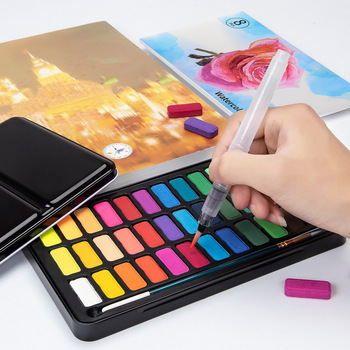 12 18 24 36 kolory stałe zestaw akwareli przenośne metalowe pudełko z pędzel do akwareli uczniów profesjonalny atystyczny dostaw tanie i dobre opinie CN (pochodzenie) 6 lat Solid watercolor Wodne farby w różnych kolorach Tin box Papier