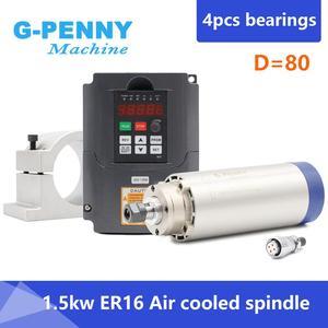 Image 1 - 1.5kw ER16 air cooled spindle motor 4 bearings air cooling 1.5 kw CNC milling spindle & 220v 1.5kw inverter VFD & 80mm bracket