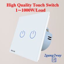 WELAIK EU 2gang2way Stairs Touch Switch Tempering Crystal Glass Panel Switch Screen Wall Light Switch  AC250V A1922CW
