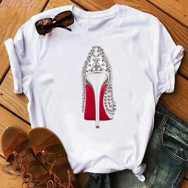 Watercolor High-heeled Shoes Printed Fashionable Street Ins Tshirt T Shirt Women Summer Top Shirts Tee Shirt Femme Tops T-shirt