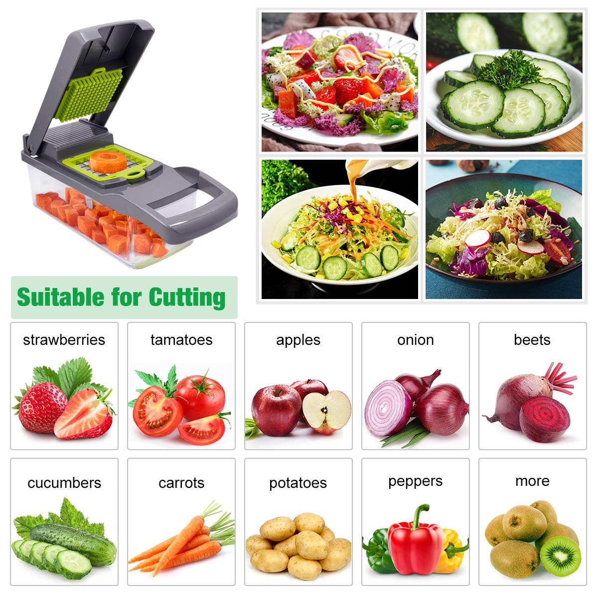 Mandoline Slicer and Vegetable/Fruits Cutter with 7 Dicing Blades as Fruit Peeler and Cheese Grater 4