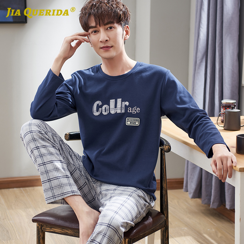 Mens Pajamas Cotton Sleepwear Long Sleeved Pullover Plus Size Xxxl 4xl Big Men's Homewear Set Classic Plaid Pants Pajama Man Set