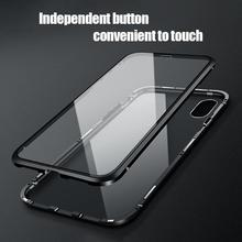Double-sided Tempered Glass Phone Case For Iphone Xs Max Innovative Magnetic Metal Cases