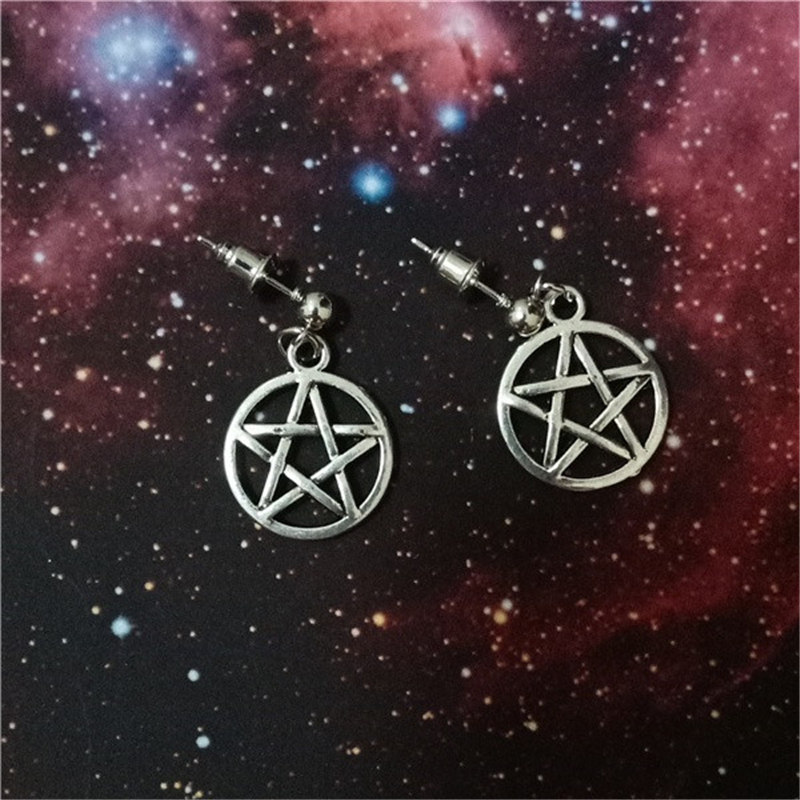 Antique Silver Color Pentagram Charms On Antique Silver Color Ball Post Stud Earrings Pentagram Earrings
