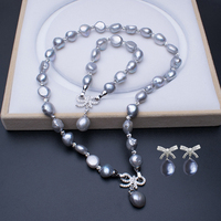 MeiBaPJ 925 Sterling Silver 11 12mm Gray Baroque Pearl Jewelry Set Necklace Bracelet and Earrings Three piece Suite for Women