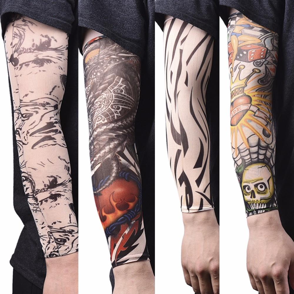 Men Seamless Fake Tattoo Temporary Tattoo Sleeves Arm Warmer Stockings Elastic Tattoo Sleeves Nylon Sport Skins Sun Protective