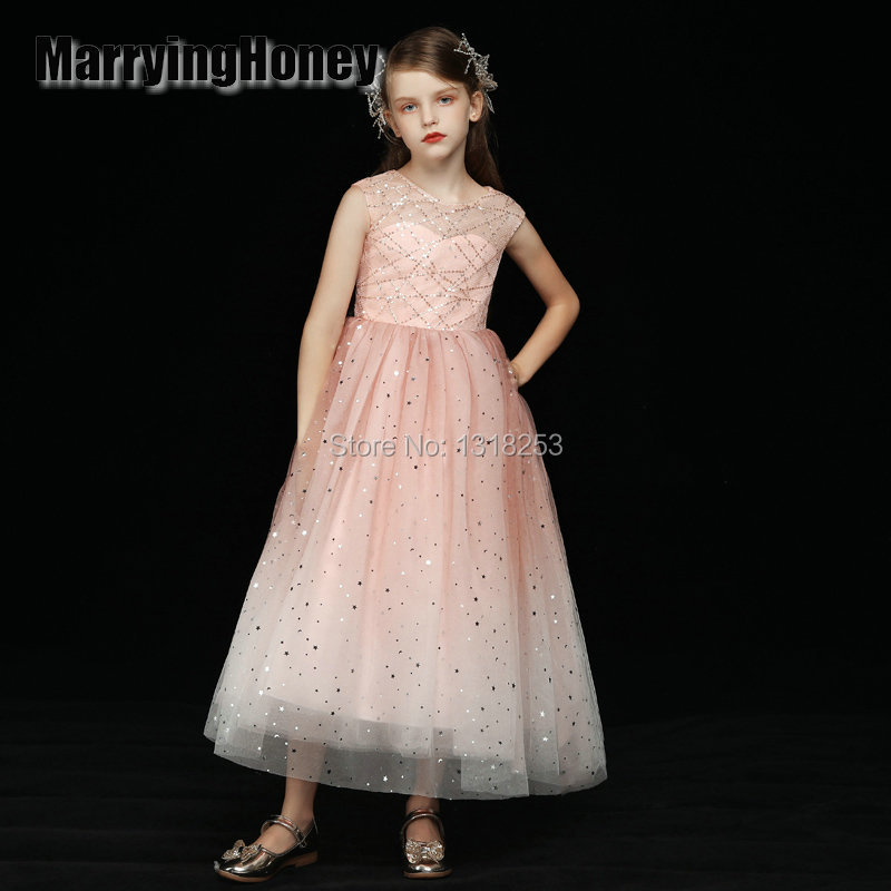 Robe sainte pailletée pêche longue la fille de fleur cravate la fête de tennis la fête de banquet spectacle robe de bal vestidos de fiesta