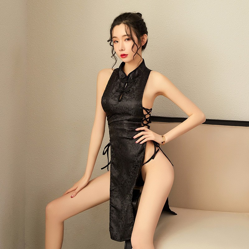 High-End New Products Sexy Lingerie Retro Jacquard Satin Cheongsam Temptation Hollow Out Bandage Cloth High Slit Sexy Pajamas Ni