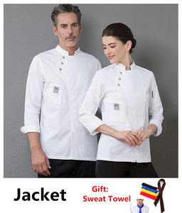 Image 1 - Yeni şef üniforma Unisex şef elbise fırın restoran mutfak iş elbisesi uzun kollu garson Catering şef ceketler Jaleco
