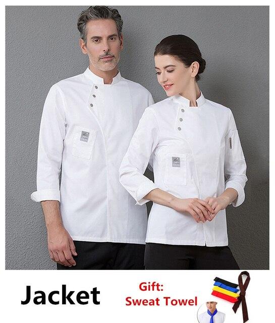 Yeni şef üniforma Unisex şef elbise fırın restoran mutfak iş elbisesi uzun kollu garson Catering şef ceketler Jaleco