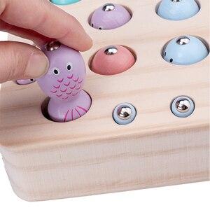 Image 4 - חדש תינוק צעצועי עץ 3D פאזל לגיל רך ילדים חינוכיים צעצועי לתפוס תולעת משחק דיג משחק צבע קוגניטיבית מגנטי
