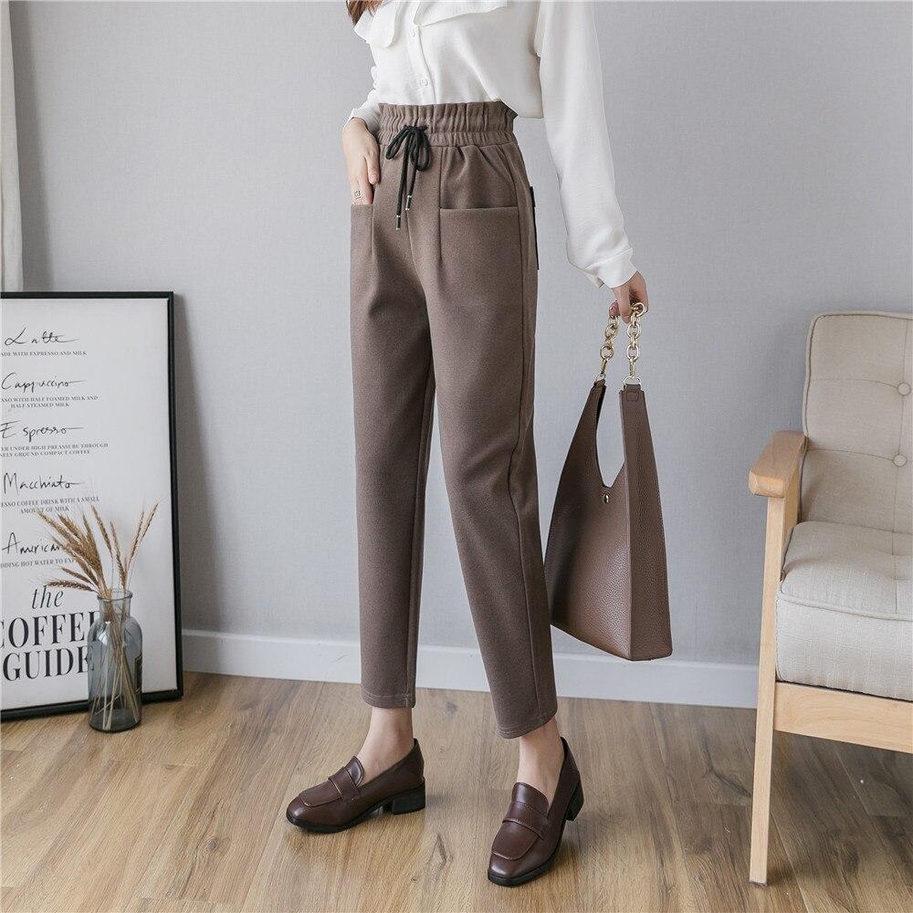 S-5XL Plus Size Women Woolen Pants Casual Elastic High Waist Ankle Length Pants Autumn Winter Trousers Chic Pencil Harem Pants