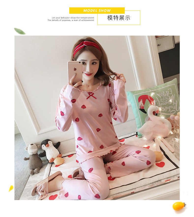 Autumn Women Cotton Pajamas Sets 2 Pcs Cartoon Printing Pijama Pyjamas Long Sleeve Bowknot Pyjama Sleepwear Sleep Set 60
