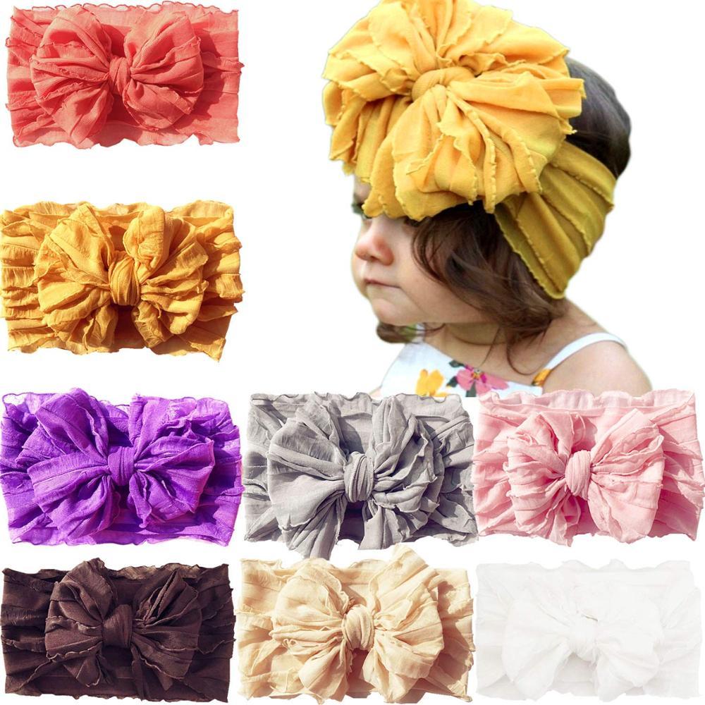 8 Pack bébé filles grands nœuds de cheveux Super extensible doux noué respirant bandeaux bandeau pour nouveau-né infantile en bas âge enfants
