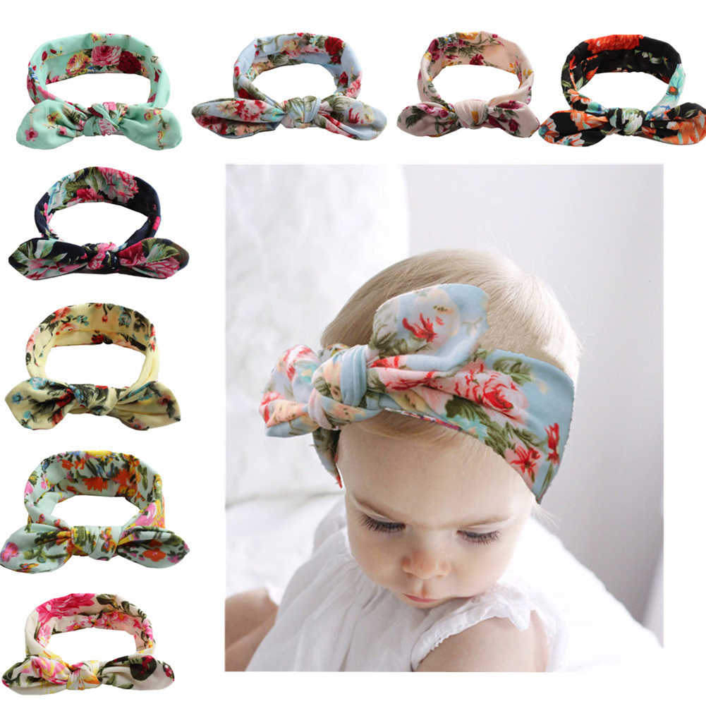 Lovely Floral Printed Headband Newborn Toddler Boho Hair Band Ribbon Elastic Baby Bowknot Headdress Headwear Hair Accessories