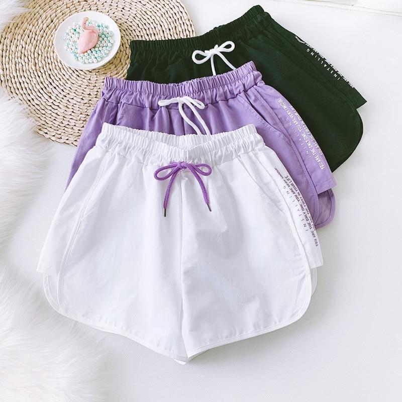 Wasteheart Summer White Purple Sexy Cotton Shorts Women Shorts Button High Waist Shorts Female Bottom Darwstring Short Hot-pants