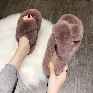 Women Fluffy Slippers Shoes Woman Cross Belt Fur Slippers Home Slides Ladies Sweet Cute Home Indoor Flip Flops Ladies Furry shoe
