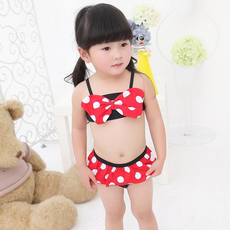 Popup Fashion Stripes GIRL'S Swimsuit Mickey Children Two-piece Swimsuits Cute Bikini Girls' Shirt Bathing Suit