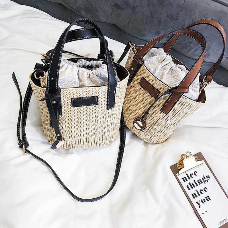 Повседневное ротанговое ведро сумки ручной работы тканая Соломенная Сумка дизайнерская женская сумка винтажная сумка через плечо летняя пляжная сумка