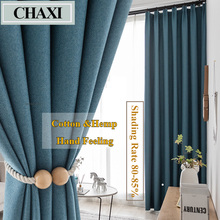 CHAXI Faux Linen 80%-85% Blackout Curtains for Living Room Modern Bedroom Window Curtains kitchen Curtains Blinds Custom Made