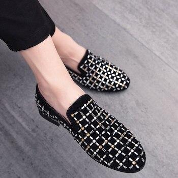 Zapatos de vestir de marca de moda Noble Rhinestone para hombre, mocasines de lujo de cristal de terciopelo para hombre, calzado de oficina para hombre de negocios