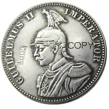 1892 German East Africa 1 Rupie Coin Guilelmus II Imperator Silver Plated Copy coin image