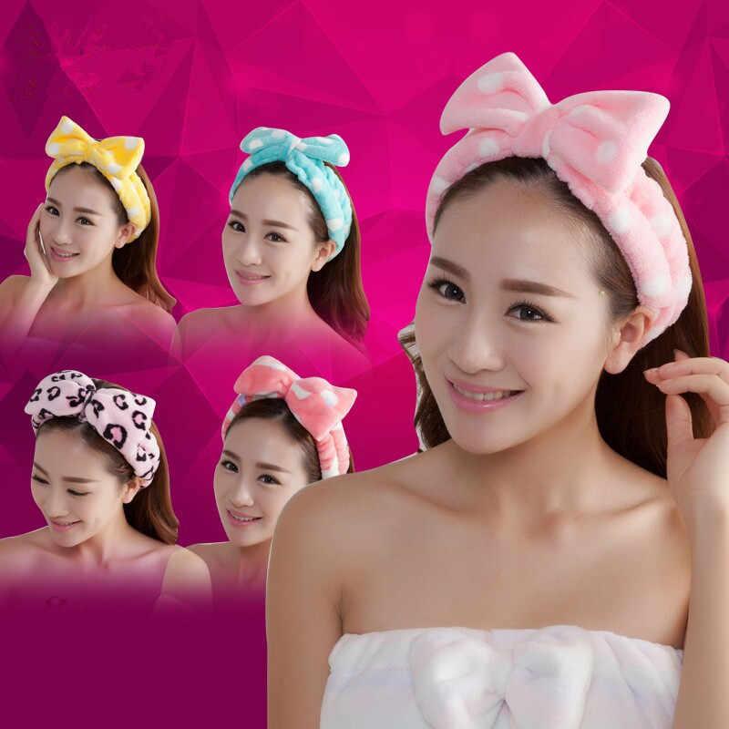 ผู้หญิง Headwear ผมโบว์ Dot ลาย Soft อาบน้ำสปาผมแต่งหน้าน่ารักที่อุดมไปด้วย
