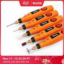 HILDA Мини дрель вращающийся инструмент 12 В гравировальная ручка с шлифовальными аксессуарами набор многофункциональная мини гравировальная ручка для инструментов Dremel