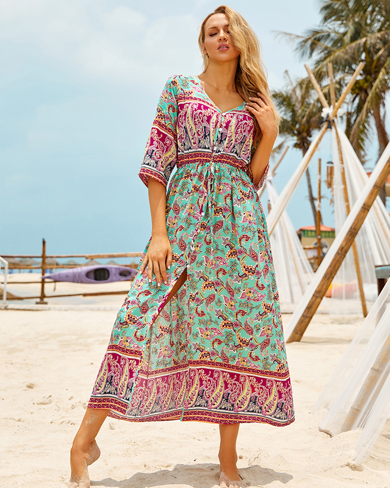 H3c01c5fd8e4443fd8c588ff260928459T - Sexy Bikini Cover ups Cotton Tunic Boho Printed Summer Beach Dress Elegant Women Plus Size