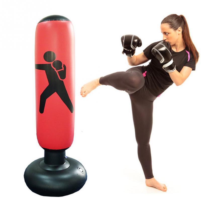 Boxing Sand Bag Boxing Punching Bag Inflatable Free-Stand Tumbler Muay Thai Training Pressure Relief Back Sandbag With Air Pump