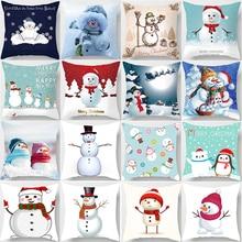 Hot sale beauty snowmen pillow cases cute snow men  square Pillow case cute cartoon pillow covers size 45*45cm hot sale beauty flower cats pillow cases square pillow case cute cartoon rabbit pillow covers size 45 45cm