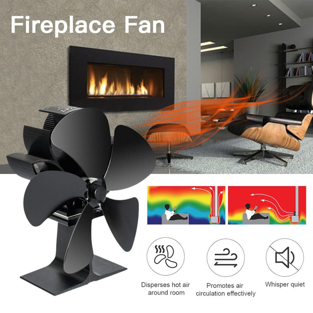 Eco Friendly Heat Circulation for Fireplaces +Stove Thermometer Quiet Heat Powered Wood//Log Burner Fan 4 Blade Stove Fan