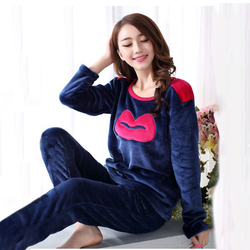 Lovely Lip Pattern Flannel Pajamas Winter Thick Women Pyjamas Sets Sleepwear Suit Pajamas Cute Pijama Home Clothing Women's Suit