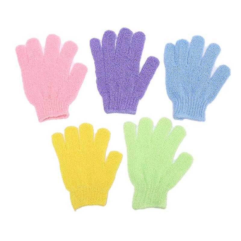 5PCS Exfoliating Gloves Shower Body Brush Fingers Bath Towel Peeling Mitt Body Scrub Gloves Bath Sponge Spa Shower Random Color