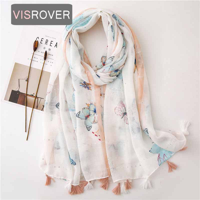 VISROVER 2020 New Butterfly Printing Viscose Summer Scarf With Sequin Fashion Beach Wraps Spring Shawls Hijab Gift Wholesales