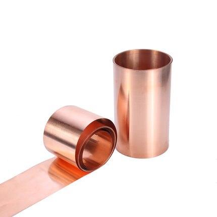 1PC 99.9% Pure Copper Cu Metal Sheet Foil Plate 0.5/0.8/1X10/20/30/40/50X1000 Thickness