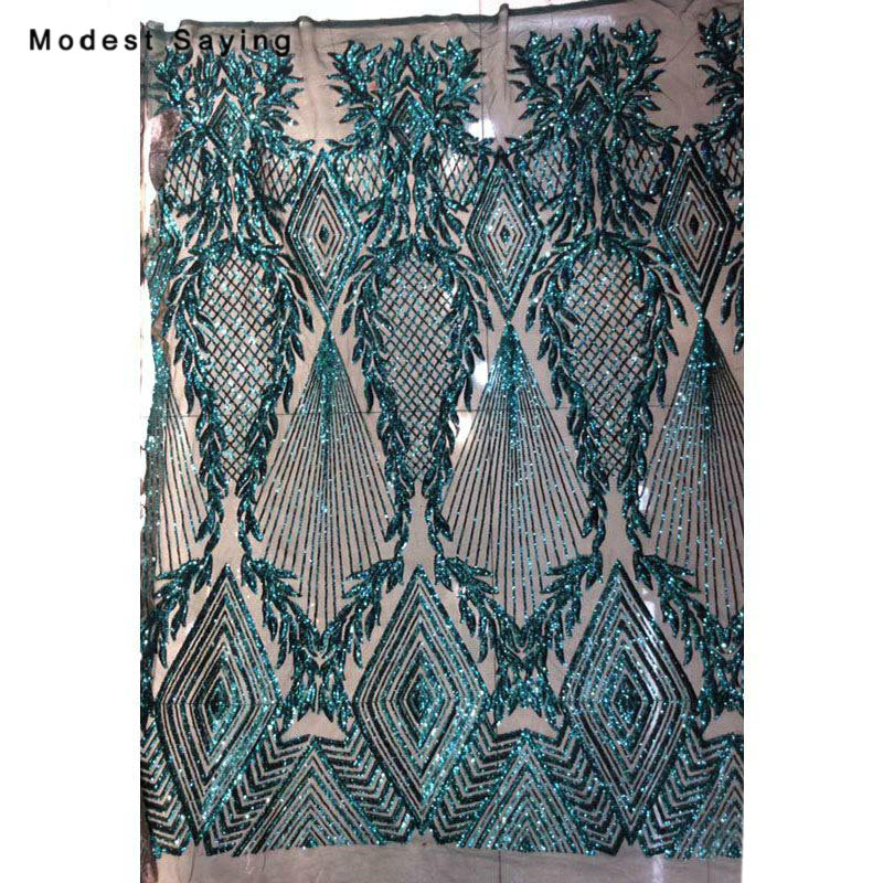 5 Yards Shiny Dark Green Sequins Fabric For Evening Dress 2019 Embroidered Mesh Cloth Wedding Party Prom Gowns Net Lace Material