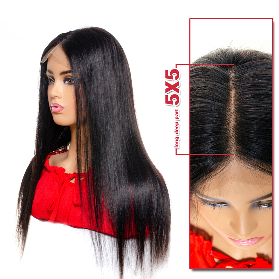 5x5 Straight <font><b>Lace</b></font> Front Human Hair <font><b>Wig</b></font> Brazilian Remy Hair Swiss <font><b>Lace</b></font> Frontal Closure <font><b>Wig</b></font> For Women Natural Color Tinashe Beauty image
