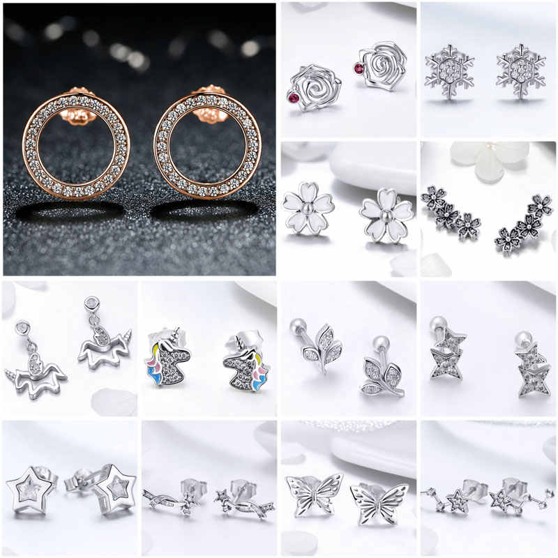 BISAER 925 Sterling Silver Circle Licorne Tree Leaves Snowflake Butterfly Stud Earrings Women Fashion Earrings Jewelry brincos