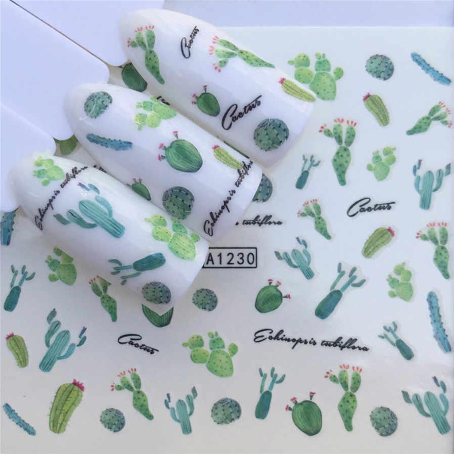 1 adet Sıcak satış Kaktüs Etli Bitki Xiaoqing Tırnak Macun Serisi Nail Art Su Transferi Çıkartmalar Tam Sarar İpuçları DIY A1227