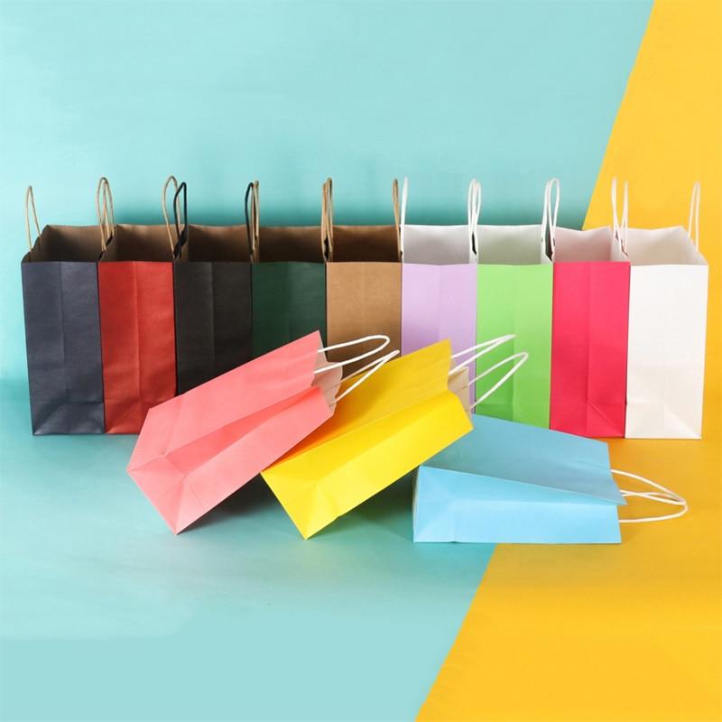 10pcs/Kraft Paper Bag Portable Bag Large Take Out Bag Clothing Shopping Small Gift Bag