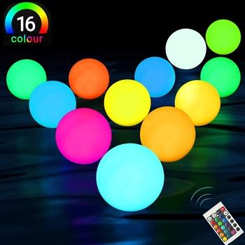16 kolor pływające światła do basenu RGB kula LED światła IP67 wodoodporny 20cm 15cm 12cm 8cm jacuzzi lampki nocne zabawki do basenu tanie i dobre opinie BORUIT CN (pochodzenie) ROHS Żarówki LED EBW1447 Klin Battery basenowa W nagłych wypadkach Oświetlenie podwodne 1 year