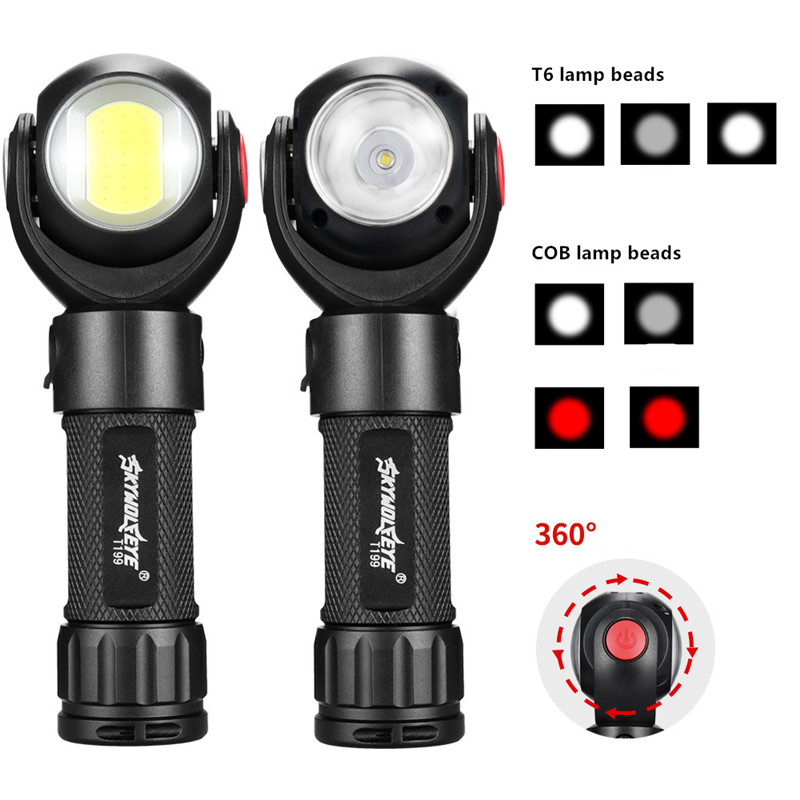 360 Degree Rotating USB Charging LED Glare Flashlight COB Work Light Flashlight Torch Working Outdoor Fishing Camping Hiking