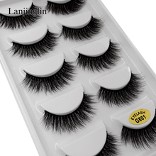 LANJINGLIN 5 pairs lashes 3d mink eyelashes makeup natural long false eyelashes extension strip fake eye lashes volume lash