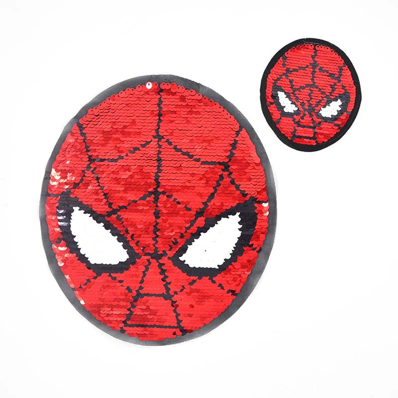 Red And Blue Spider-man AB Face Flip Sequins Embroidered Cloth Stickers Trendy Children's Clothing Coat DIY Patch Patch