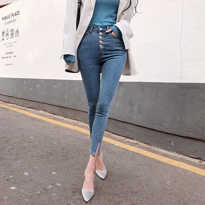 Vintage Single-breasted Women Denim Jeans High Waist Stretch Pants Capris Streetwear Female Split Cuff Jeans Pants 2019 Autumn